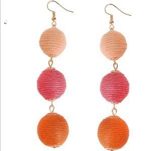 Orange drop ball yarn earrings NWOT